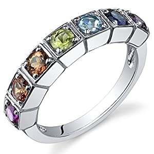 7 Stone Rainbow Color 1.75 Carats Band Ring Sterling Silver Rhodium Nickel Finish Sizes 5 to 9