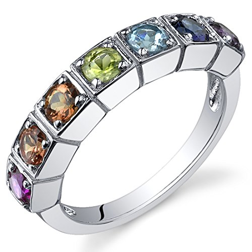 Stone Ring Gold Multi (7 Stone Rainbow Color 1.75 Carats Band Ring Sterling Silver Rhodium Nickel Finish Size 9)