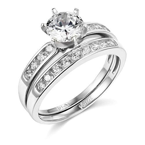 TWJC 14k White Gold SOLID Wedding Engagement Ring and Wedding Band 2 Piece Set - Size 6.5