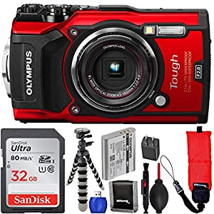 Olympus Waterproof Tough TG-5 Digital Camera (Red) with SanDisk Ultra 32GB SDHC UHS-I Memory Card, Floating Wrist Strap