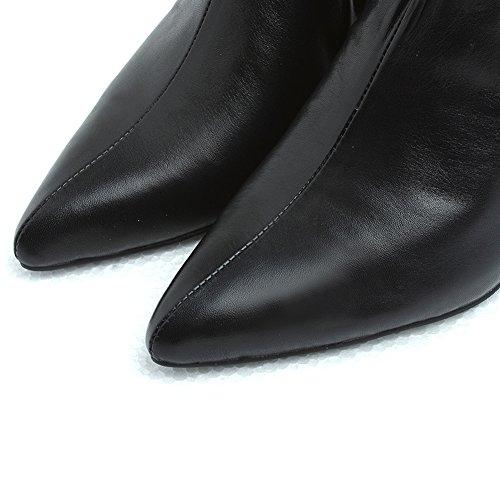 Automne Mid Zip Femme Kitten Bottines Talon Pointu Bottes Courtes Fourrures Chaussures À Cuir Hiver ON0v8wnymP