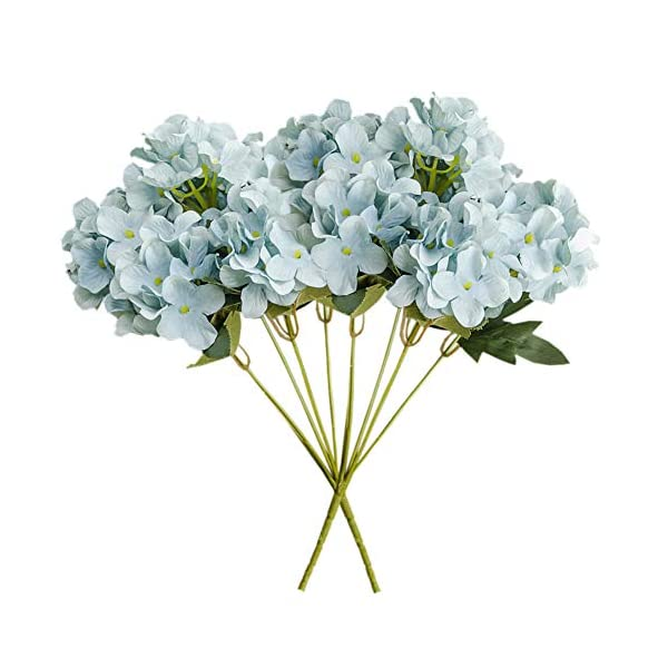 Ancdream 2-Pack 6-Heads Bounquet Artificial Hydrangea Flower Home Wedding Decoration Silk Fake Dried Hydrangea, Blue