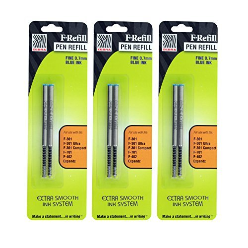Zebra F301, F301 Ultra, F402, 301A, Spiral Ballpoint Pen Refills, 0.7mm, Fine Point, Blue Ink, Pack of 6