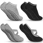 4Pcs Calcetines Yoga, Calcetines Antideslizantes de Mujeres Deportivos para Ejercicio Interior,Cómodo Pilates,