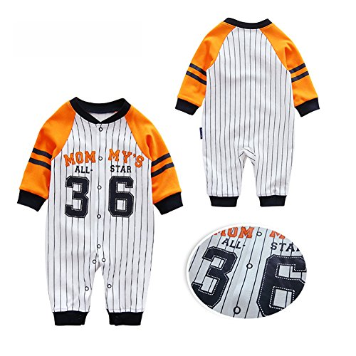 Fairy Baby Infant Baby Boys Girls Striped Long Sleeve Romper OutfitBaseball Pajamas Size 12-18M ()