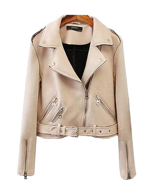 ShiFan Faux Wildleder Jacke Damen Übergangsjacke Winterjacke Revers Reißverschluss Einfarbig Oberbekleidung Mit Gürtel