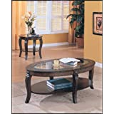 ACME 00450A Riley Glass Top Oval Coffee Table, Walnut Finish