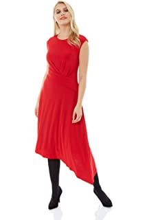 f78588cf3adc Roman Originals Women Twist Waist Asymmetric Dress - Ladies Day Party Smart  Midi Length Cap…