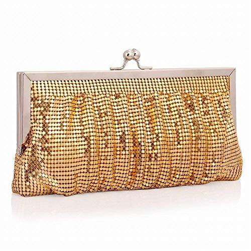 oro Esposizione trasversale sezione signore paillettes moda oro cena diagonale paillettes piccole quadrato foglia spalla frizione Borsa alluminio partito B qFxUwBa