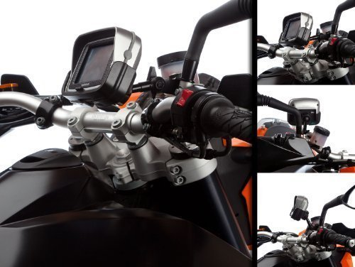Ultimate Addons Scooter and Motorcycle Stem Mirror Mount V2 with Dedicated Holder for TomTom Rider with Din Hella Battery Charger