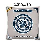 Artsbaba Pillowcases Nautical Compass Zipped Pillowcase Decorative Throw Pillow Cover 18''x18''