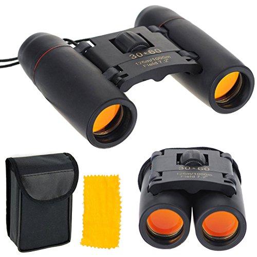 30x 60Jumelles zoom Mini pliable Voyage Vision Jour/Nuit Vision nocturne pour activité en extérieur randonnée, climbiing, Ornithologie, bateau, etc.. (Noir)