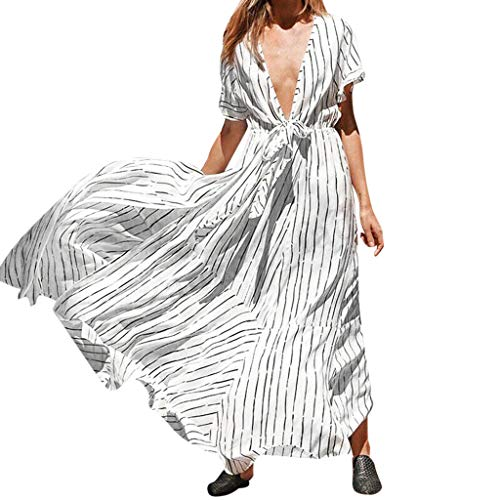 (LISTHA Women Long Sleeve Long Maxi Dress V Neck Printed Dresses with Belt)