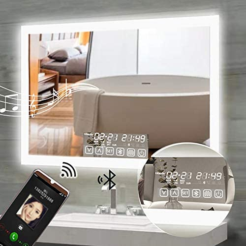 36x28inch LED Bathroom Mirror Lighted Wall Mounted Smart Bathroom Backlit Mirrors with Touch Memory Switch Defogger Bluetooth Color Brightness Dimmer IP44 Waterproof CRI 90 Horizontal