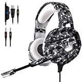 BEDOHAVE Gaming Headset for PS4 - Xbox One - Nintendo Switch - Laptop - Mac - PC - Stereo Surround Sound Noise Canceling Headphones with Led Light Mic - Mute Volume Control