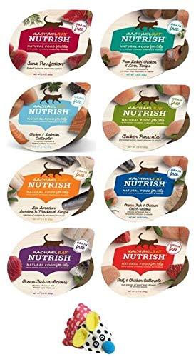 Rachel Ray Nutrish Grain Free Natural Wet Cat Food Variety Pack - 8 Flavor Bundle, 2.8 Oz Each - Pack of 8, Plus Catnip Crinkle Crackle Maddy Mouse (9 Items Total)