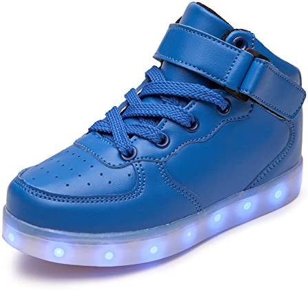 DoGeek Boys Girls Light up Trainers Big Kids Unisex 7 Colors Silver Led Lights Up Shoes / UK