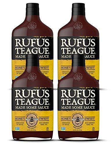 Rufus Teague HONEY SWEET BBQ SAUCE – (4-Pack) 16oz Bottles – World Famous Kansas City BBQ – Thick & Rich made with Premium Ingredients. Award Winning – Gluten-Free, Kosher & Non-GMO