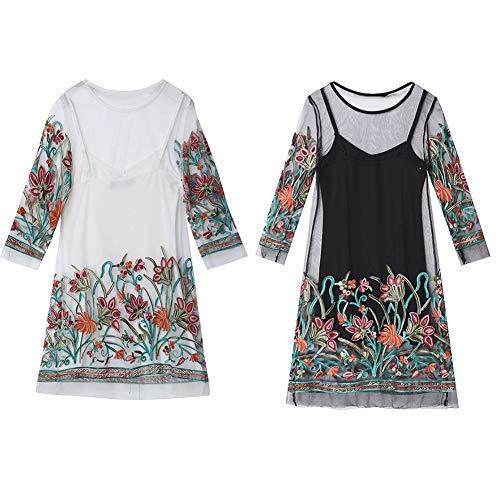 CHoppyWAVE 2Pcs Women Vintage Flower Embroidery Sexy See-Through Lace Camisole Blouse Dress White XXXXL