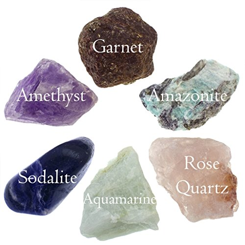 Anxiety and Worry Bundle; Quality Handpicked Healing Crystals; Stones for Stress, Reversing Negativity, Meditation, Self-Worth, and Expression; All Natural Gems: Raw and Tumbled Finishes (Quality 6pc) ()