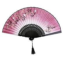 Linen Butterfly Flowers Hand Fan Lacquer Handle Japanese Folding Fan Pink