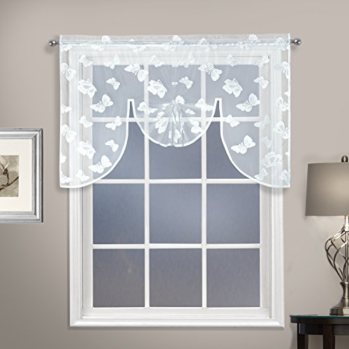 United Curtain Madame Window Curtian Swag, 52″ x 38″, White Review