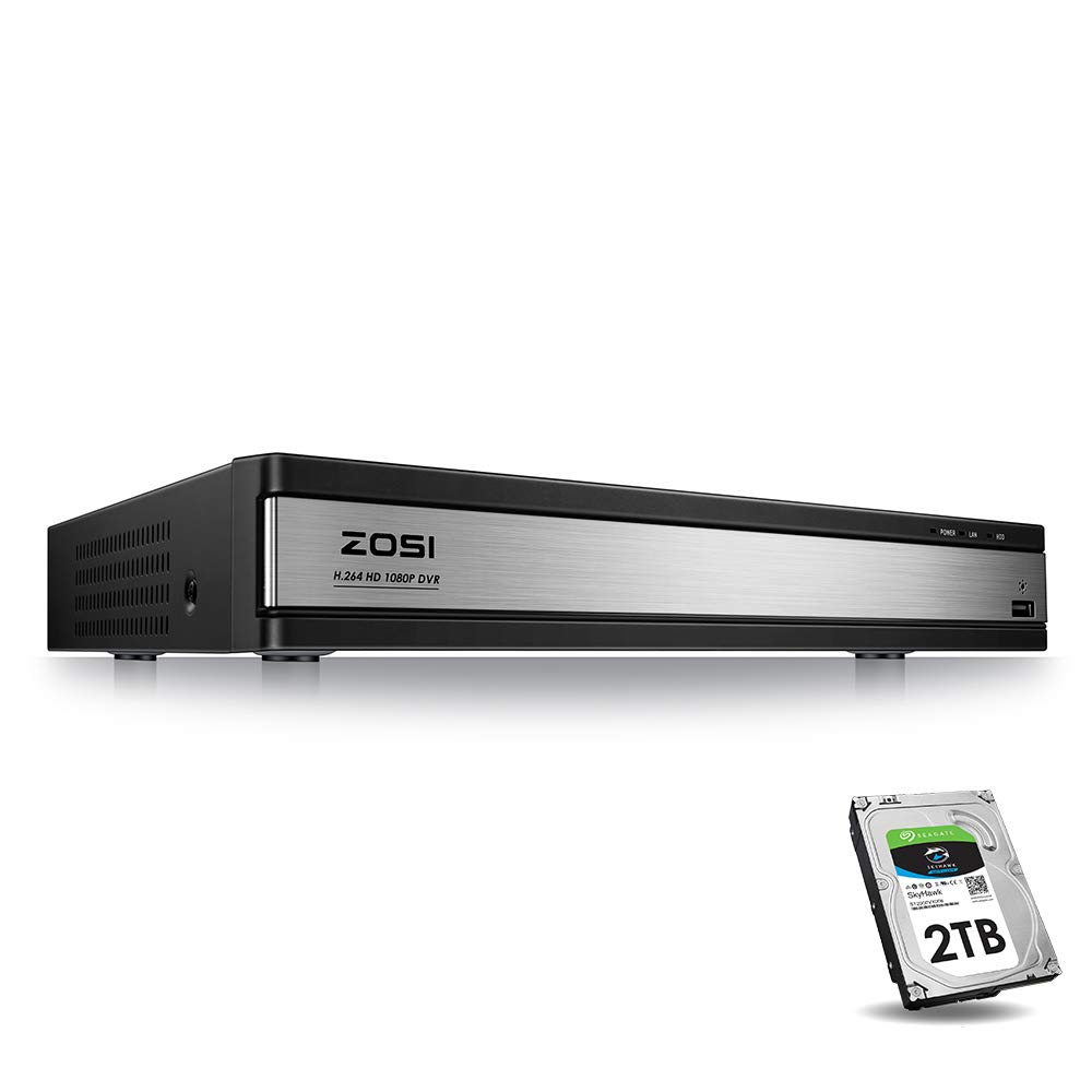 ZOSI Full 1080p HD 16 Channel Security DVR Recorder, H.265+ Hybrid 4-in-1 TVI DVR Surveillance System(Analog/AHD/TVI/CVI),Motion Detection,Mobile Remote Control,Email Alarm,2TB Hard Drive by ZOSI