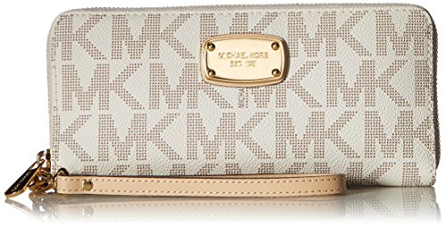 Michael Kors Jet Set Item Travel Continental Wallet Clutch Wristlet (PVC Vanilla)