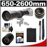 Vivitar 650-1300mm f/8-16 Telephoto Lens (Black) with 2x Teleconverter (=2600mm) + NP-FW50 Battery + Monopod + Accessory Kit for Sony Alpha NEX-C3, NEX-F3, NEX-5N, NEX-5R, NEX-6 and NEX-7 Digital Cameras
