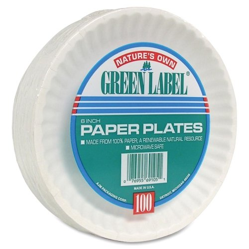 Wholesale CASE of 10 - AJM Packaging Green Label Paper Plates-Paper Plates, Green Label, 6'' Plate, 1000/CT, White by AJM