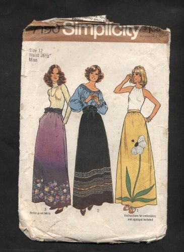 Maxi Transfer (Vintage 1975 Simplicity Maxi Skirt with Transfer Sewing Pattern #7190)