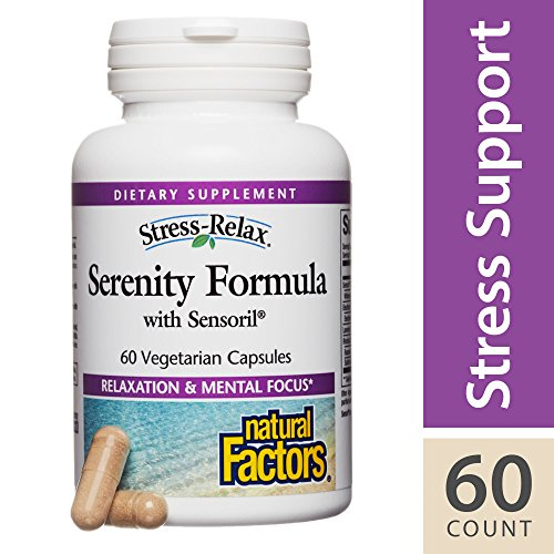 Serenity Natural - Natural Factors - Stress-Relax Serenity Formula with Sensoril, Natural Adrenal Support to Encourage a Relaxed Mind, Body, and Mood with Ashwagandha, Eleuthero, and Lavender, 60 Vegetarian Capsules