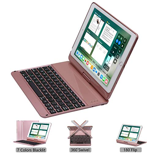 LENRICH iPad Keyboard case for ipad 9.7 2018 6th Generation 2017 5th iPad Air 9.7 Backlit, 7 Color Backlight 360 Rotatable 180 Flip Swivel Wireless Hard Shell Folio Cover Auto Sleep Wake up Rose Gold