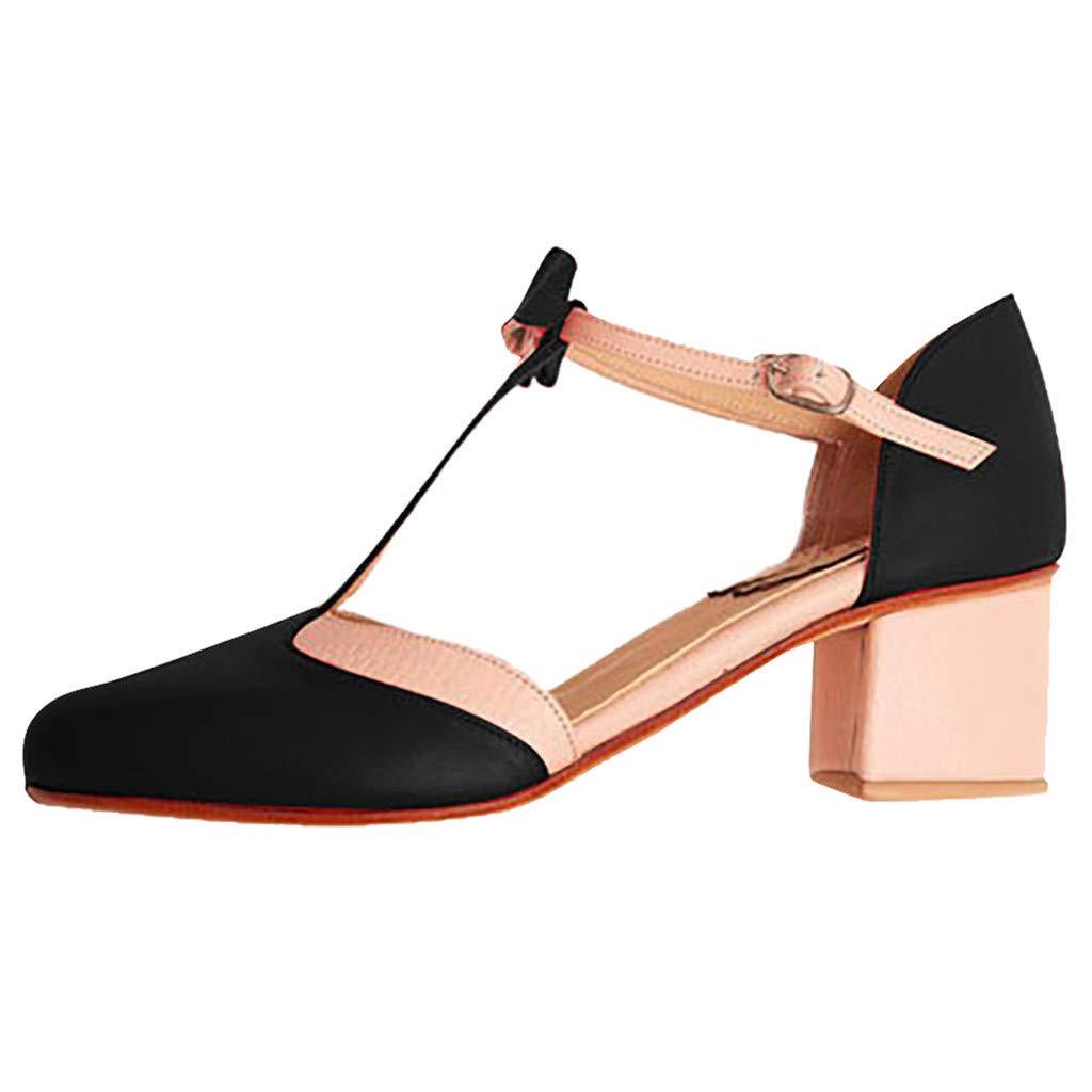 Ankle Strap Chunky Heel Gladiator Sandals,Women's Buckle Strap Mid Block Heel Sandal Weeding Party Pumps Sandals 2.4'' (Black, US:7.5)