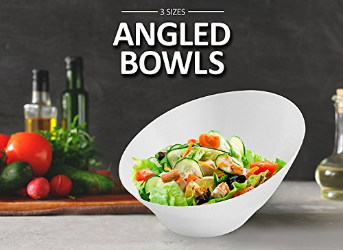 - Party Bargains Hard Plastic Angled Medium Serving Bowls, Color: White, Value Pack of 5