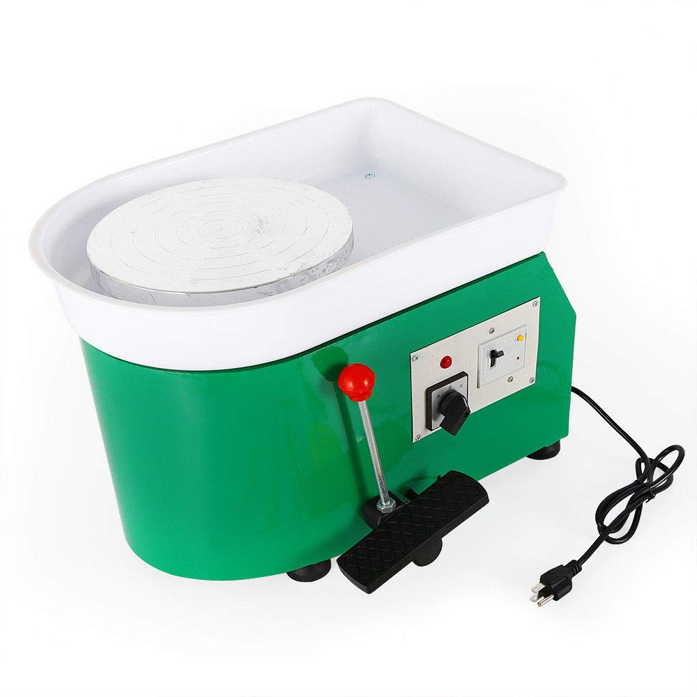 Pottery Wheel Forming Machine 25CM Electric Pottery Wheel DIY Clay Machine for Ceramic Work Clay Art Craft 110V 350W (Green)
