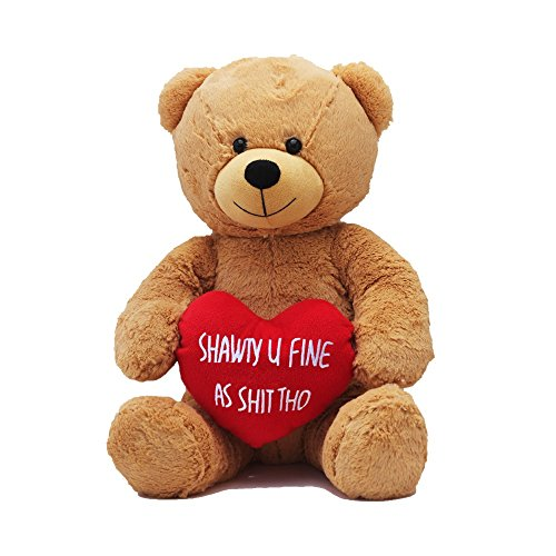 Hollabears Extra Large Shawty U Fine As Shit Tho Teddy Bear - Funny and Cute for Girlfriend, Boyfriend or Best Friends