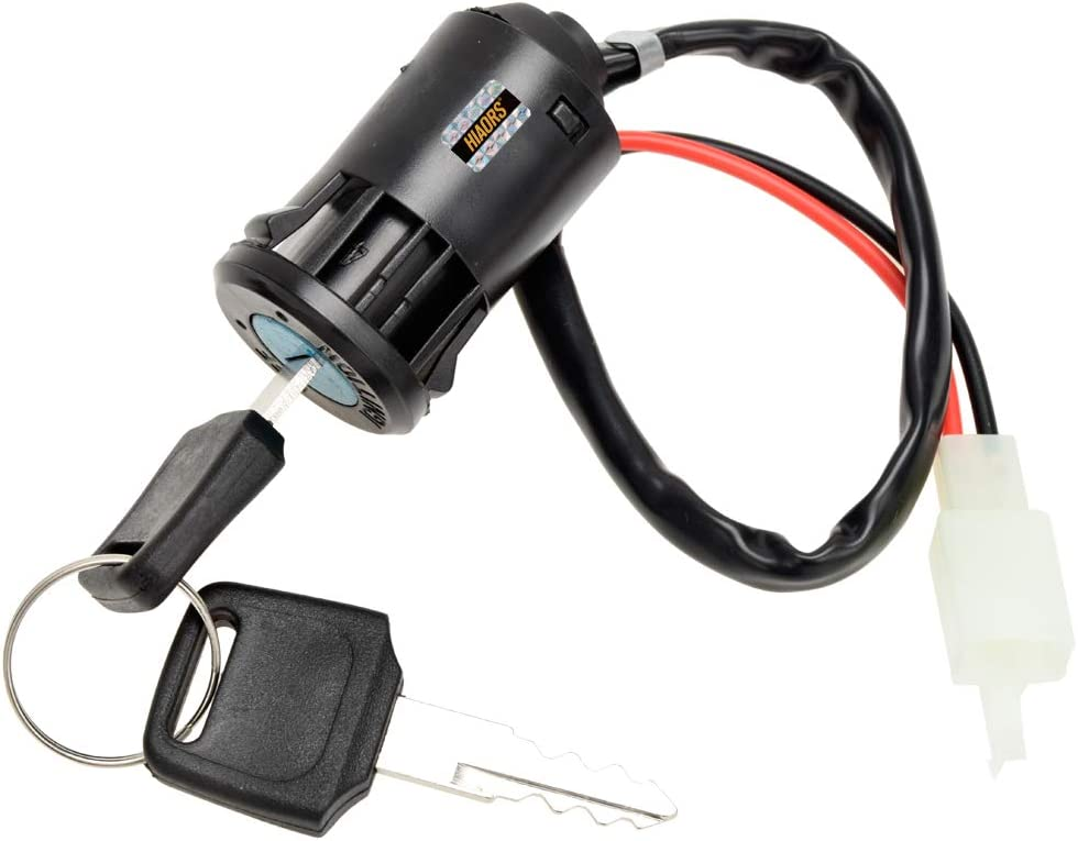 HIAORS 2 Wire Ignition Key Switch Lock with 2 Keys On-Off Lock 2 Position for Electrical Scooter Moped Mobility Motorcycle Go Kart