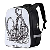 Fashion Elementary Student School Bags- Black and White Simple Octopus Durable School Backpacks Outdoor Daypack Travel Packback for Kids Boys Girls
