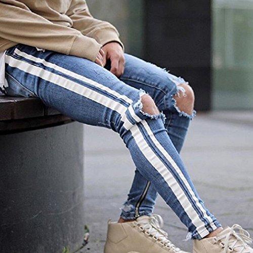 Leggings Con Pantaloni Skinny Stile Blu 2 Piccoli Tasche S Azzurro Spezzati Piedi Cerniera Juleya Zip Bucati Strisce Laterali Jeans Fori Uomo 3xl EaBnx7qw0Z