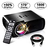 LED Video Projector, Konomio 1800 Lumens Multimedia Home Theater Portable Mini HD Movie Projector with 170'' Display and 1080P Support, Compatible with TV HDMI,USB,TF,VGA,AV,Cinema,TVs,Laptops,PS4