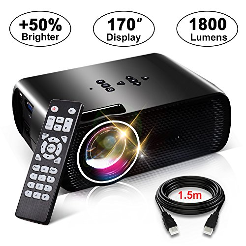 1800 Lumens Movie Projector, Konomio Multimedia Home Theater Portable Mini Video Projector with 170'' Display, Support HD 1080P HDMI,USB,SD Card,VGA,AV for Home Cinema,TVs,Laptops,PS4,Smartphone,iPad