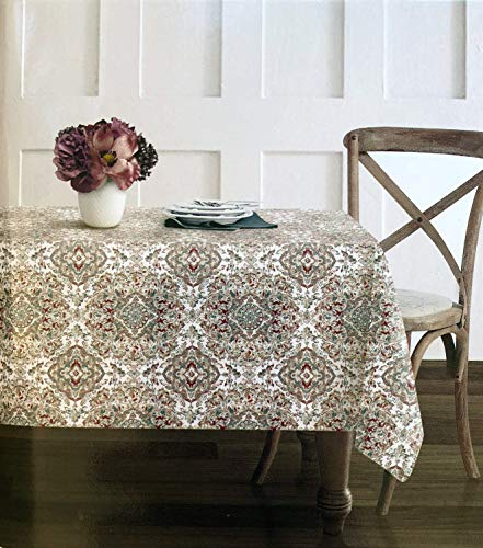 Envogue Fabric Tablecloth Intricate Floral Medallion Pattern in Shades of Rust Blue Gray Taupe on White - 50 Inches by 70 Inches