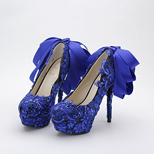 Table Evening Wedding Nightclub Shoes Water Knot 5 Super Bow Blue Heel High Women'S Silk Shoe Lace 12Cm Sandals Prom VIVIOO Shoes Bridal 5 Sequins Party Ribbon qwO6zCnU