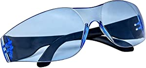 ABC Pack of 12 Anti-Scratch Safety Glasses with Black Trim. ANSI, blue lense. Anti Scratch Glasses. Safety Eyewear. Non-slip Anti-fog Glasses. Protective Safety Spectacles. Scratch Resistant Lenses.