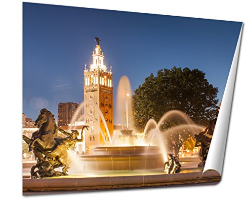 Ashley Giclee Kansas City Missouri Fountain At Country Club Plaza Wall art heavy thich museum grade artist paper, poster artwork ready to frame, 20x25 - Country Plaza Club The