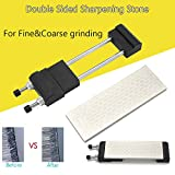 Foreverharbor Double-Sided Whet Stone Sharpeners Stone with Adjustable Stand Household Kitchen Knife Sharpening Tool for Woodworking(Color:Silver & Black)