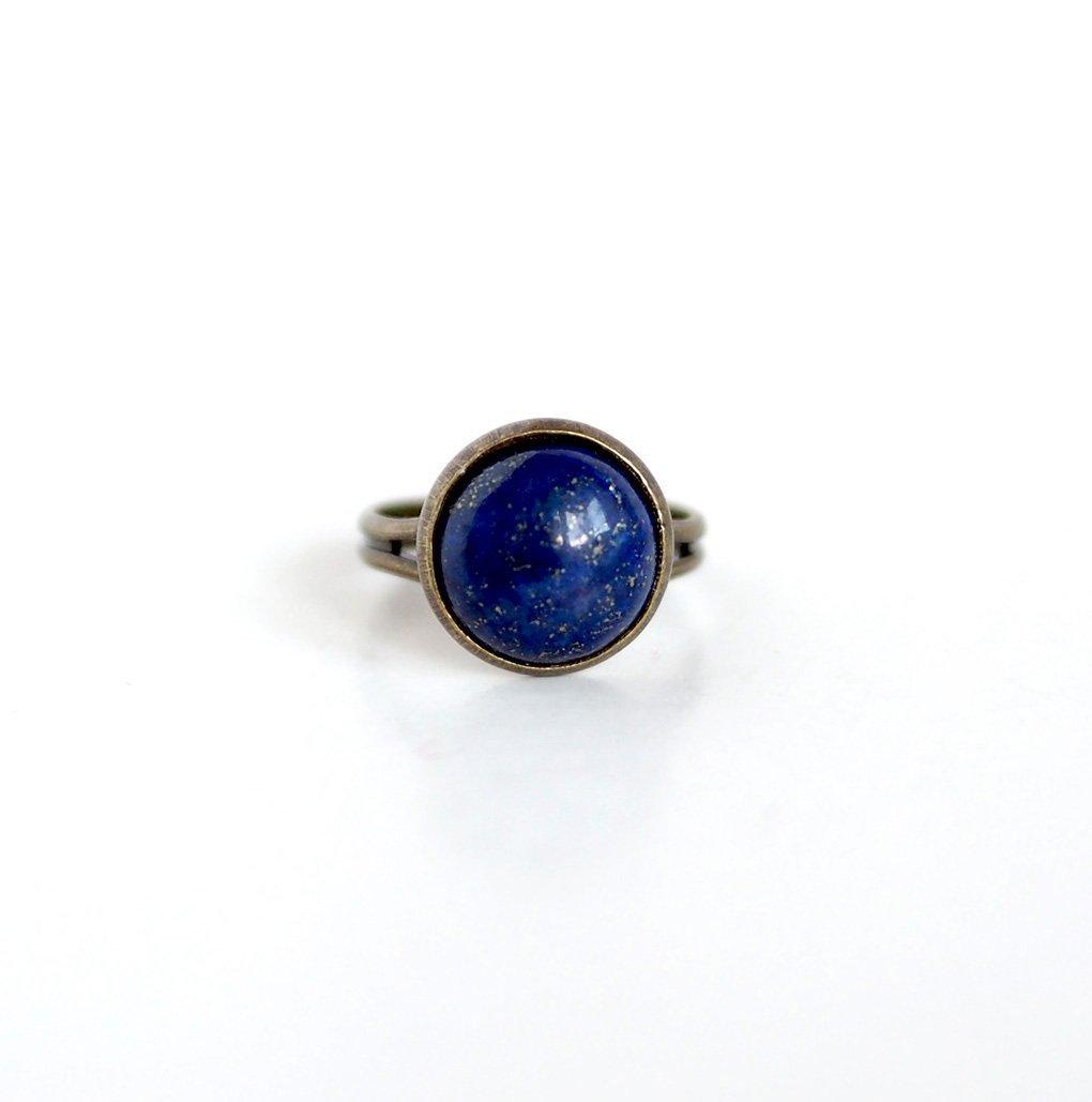Bague Cabochon 12 mm, pierre Lapis Lazuli, pierre bleu