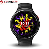 LEMFO LES1 Smart Watch Android 5.1 Wrist Band Bluetooth4.0 MTK6580 1.3GHz Quad-core 1GB RAM 16GB ROM with Wifi /Sim /GPS Heart Rate Monitor Smartwatch phone for Anrioid iOS Black