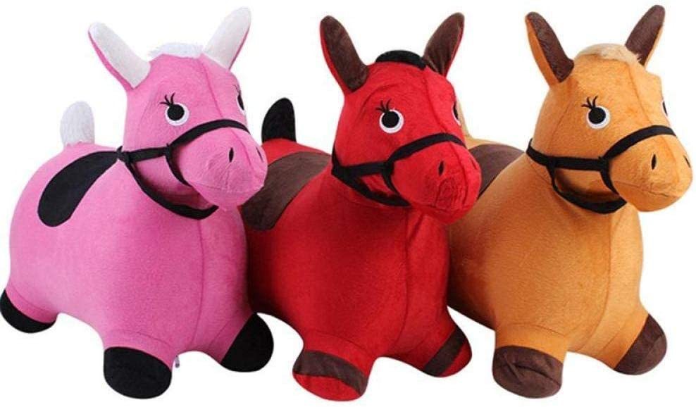 Juguete de peluche color de caballo de juguete divertido lindo encantador único inflable de la felpa del juguete del niño del paño de caballo a caballo del juguete educativo de salto caballo de juguet